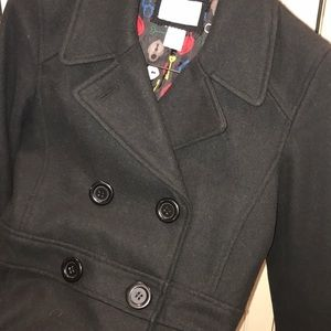 Black Wool and Viscose Pea Coat